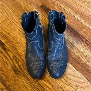 Diesel cowboy booties (navy leather)